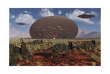 Centrosaurus Dinosaurs Walk Past a Ufo Stuck in the Ground Stampe