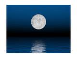Beautiful Full Moon Against a Deep Blue Sky over the Ocean Kunstdruck