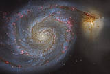 The Whirlpool Galaxy and its Companion Galaxy Reproduction photographique