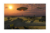 An Alien Ufo Flying Low over an American Airbase Poster