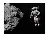Astronaut Exploring an Asteroid in Outer Space Posters