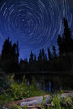 Star Trails Above Summit Lake in Lassen Volcanic National Park, California Photographic Print