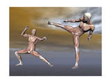 Male Musculature in Fighting Stance Art