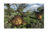 Prehistoric Glyptodonts Graze on Grassy Plains. an Eremotherium Is in the Background Poster