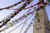 Stupa and Prayer Flags in the Whochen Thokjay Choyaling Monastery, Swayambhu, Nepal, Asia Photographic Print by Simon Montgomery