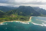 Aerial of the North Shore of the Island of Kauai, Hawaii, United States of America, Pacific Fotografisk trykk av Michael Runkel