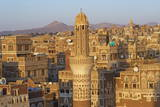 Elevated View of the Old City of Sanaa, UNESCO World Heritage Site, Yemen, Middle East Fotografisk trykk av Bruno Morandi