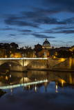 Ponte Vittorio Emanuelle Ii and the Dome of St. Peter's Basilica, Rome, Lazio, Italy, Europe Fotografisk tryk af Ben Pipe
