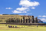 Tourists at the 15 Moai Restored Ceremonial Site of Ahu Tongariki Photographic Print by Michael Nolan