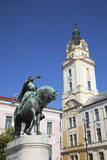 Town Hall and Statue of Janos Hunyadi, Pecs, Southern Transdanubia, Hungary, Europe Photographic Print by Ian Trower