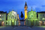 Piazza San Carlo as the Floodlights Come on at Dusk, Turin, Piedmont, Italy, Europe Photographic Print by Mark Sunderland