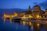 Waterfront Lit Up at Dusk, Trogir, UNESCO World Heritage Site, Dalmatian Coast, Croatia, Europe Photographic Print by John Miller