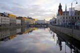 Town Hall and Canal at Sunset, Gothenburg, Sweden, Scandinavia, Europe Fotografisk trykk av Frank Fell
