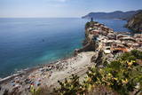 The Beach at Vernazza from the Cinque Terre Coastal Path Photographic Print by Mark Sunderland