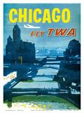 Chicago - Fly TWA Trans World Airlines - Bridges over the Chicago River Affischer av Austin Briggs