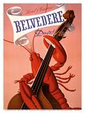 Davos, Switzerland - Grand Hotel & Casino Belvédère - Lobster Musician playing a Cello Kunstdrucke von Charles Kuhn