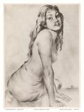 Marion - Topless Hawaiian Girl - from Etchings and Drawings of Hawaiians Arte di John Melville Kelly