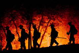 Fire Crews Work to Contain a Fire Photographic Print by Michal Czerwonka