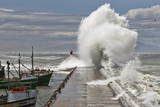 A Wave Breaks over Kalk Bay Harbour Wall in False Bay Photographic Print by Nic Bothma
