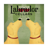 Two Labrador Wine Dogs Square Prints by Ryan Fowler