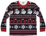 Long Sleeve: Santa Stripe Ugly Xmas Sweater Costume Tee Lange ærmer