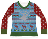 Womens Long Sleeve: Check Out My Rack Ugly Xmas Sweater Costume Tee Langærmede T-shirt til damer