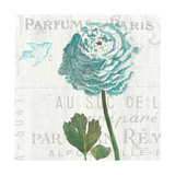 Floral Messages on Wood II Blue Premium Giclee Print by Sue Schlabach