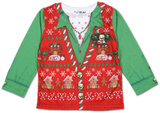 Toddler Girls Long Sleeve: Ugly Xmas Vest Costume Tee T-シャツ