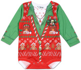 Infant Girls: Ugly Xmas Vest Long Sleeve Romper Grenouillère bébé