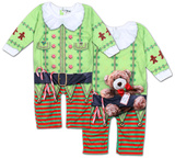 Infant Long Sleeve: Christmas Elf Romper with Legs Grenouillère bébé