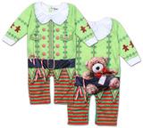 Infant Long Sleeve: Christmas Elf Romper with Legs Bodystocking til babyer