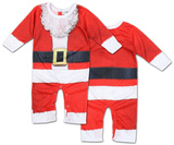 Infant Long Sleeve: Santa Suit Romper with Legs Bodystocking til babyer