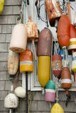 USA, Rhode Island, Block Island. Fishing buoys and floats on a wall. Fotografisk tryk af Cindy Miller Hopkins