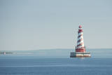 USA, Michigan, Great Lakes, Lake Michigan, White Shoal Lighthouse. Fotografisk tryk af Cindy Miller Hopkins