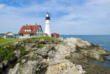 Portland, Maine, USA Famous Head Light lighthouse on rocky cliff. Reproduction photographique par Bill Bachmann