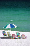 USA, Florida. Beach chairs on the Emerald Coast, Destin. Photographic Print by Anna Miller