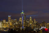 Space Needle with Seahawk colors and 12th man flag. Washington, USA Fotografie-Druck von Jamie & Judy Wild