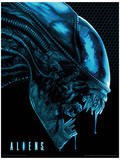 Aliens - Head Blue Masterprint