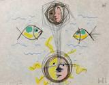 L'âge du verseau : visages et poissons Serigraph by Jean Cocteau