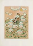 Aux champs - berger et moutons Samletrykk av Francoise Deberdt