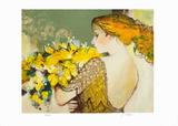 Femme au bouquet jaune Collectable Print by Sachiko Imai