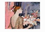 Femme au rideau bleu Collectable Print by Sachiko Imai