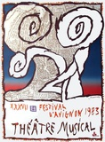 Festival D'Avignon 1973 Reproduction pour collectionneur par Pierre Alechinsky