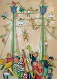 Au Cirque - les Trapezistes Premium-versjoner av Francoise Deberdt