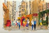 Paris, La Rue De La Huchette Collectable Print by Urbain Huchet