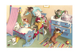 Crazy Cats in the Nursery Lámina giclée prémium