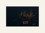 Composition Fond Noir Serigrafiprint (silkscreentryck) av Georges Mathieu