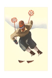 Skier in Powder Premium Giclee Print