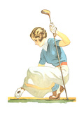 Lady Golfer Teeing Up Poster