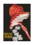 Scarlet Macaw with Ink Cans Premium Giclee-trykk